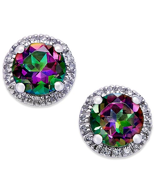Macy's Mystic Topaz (1-3/4 ct. t.w.) and Diamond (1/6 ct. t.w.) Round Stud Earrings in 14k White Gold