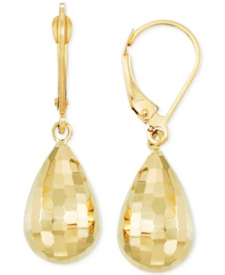 14K Yellow Gold Diamond Cut Long Teardrop Drop Earrings