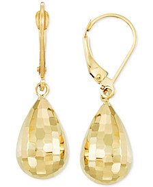 Mirror-Cut Teardrop Drop Earrings in 14k Gold