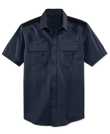 Sean John Men's Solid Twill Short-Sleeve Shirt, Created for Macy's ...