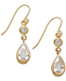 Cubic Zirconia Double Drop Earrings in 14k Yellow, White or Rose Gold