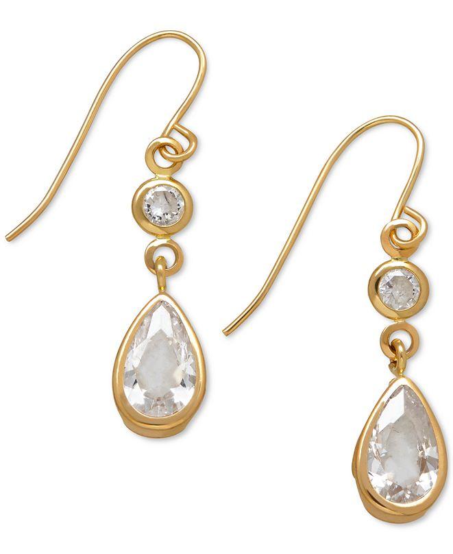 Macy's Cubic Zirconia Double Drop Earrings in 14k Yellow, White or Rose Gold