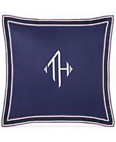 "Tommy Hilfiger Monogram Grosgrain Flange 18"" Square Decorative Pillow"