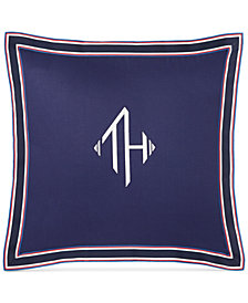 "Tommy Hilfiger Monogram Grosgrain Flange 18"" Square Decorative Pillow"
