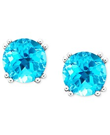 14k White Gold Blue Topaz Stud Earrings (4-1/2 ct. t.w.)