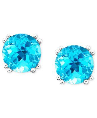 Macy S 14k White Gold Blue Topaz Stud Earrings 4 1 2 Ct T W