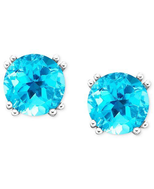 Macy's 14k White Gold Blue Topaz Stud Earrings (4-1/2 ct. t.w.)