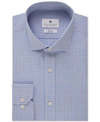 Ryan Seacrest Distinction Slim-Fit Non-Iron New Navy Check Dress Shirt