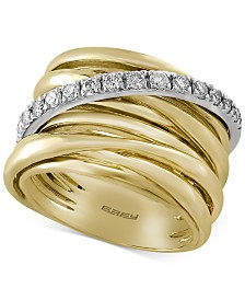Duo by EFFY® Diamond Multi-Row Ring (3/8 ct. tw.) in 14k Gold with White Gold Accent