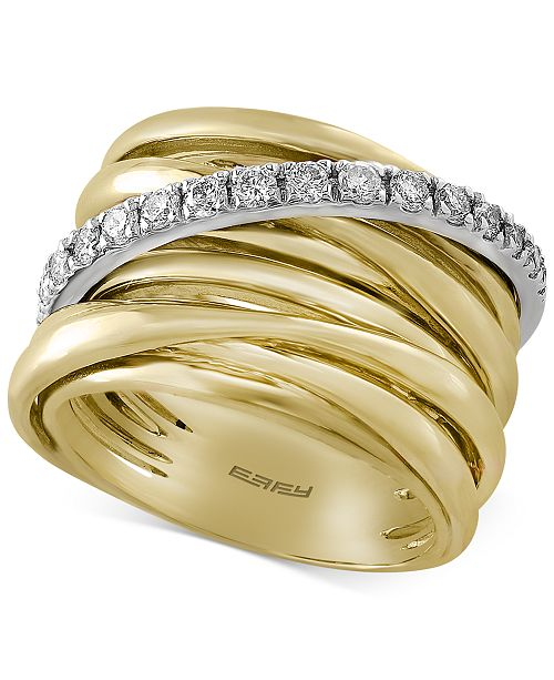 EFFY Collection Duo by EFFY® Diamond Multi-Row Ring (3/8 ct. tw.) in 14k Gold with White Gold Accent