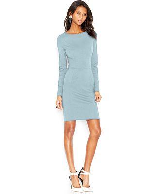 Bar III Long-Sleeve Ponte-Knit Dress, Created for Macy's