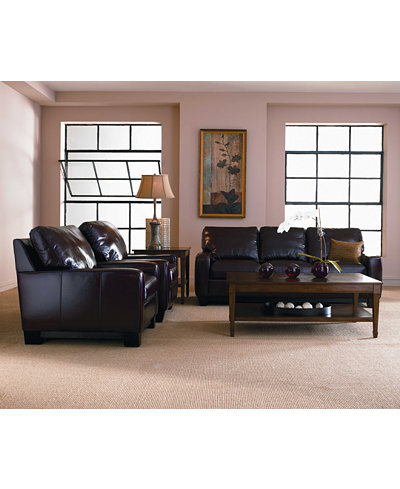 Hampton Leather Sofa Living Room Furniture Collection - Furniture ...