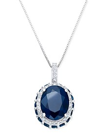 Sapphire (3-9/10 ct. t.w.) and White Sapphire (1/6 ct. t.w.) Pendant Necklace in 10k White Gold