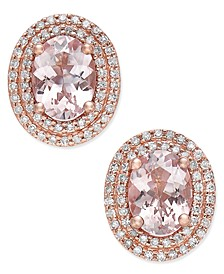 Morganite (2 ct. t.w.) and Diamond (1/3 ct. t.w.) Oval Stud Earrings in 14k Rose Gold