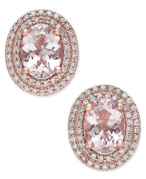 Macy's Morganite (2 ct. t.w.) and Diamond (1/3 ct. t.w.) Oval Stud Earrings in 14k Rose Gold