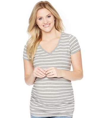 Motherhood Maternity Striped V-Neck Tee