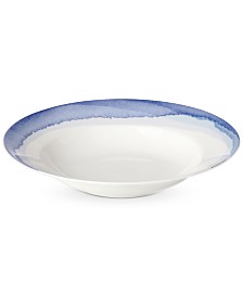 Lenox Indigo Watercolor Stripe Rim Soup Bowl, Created for Macy's