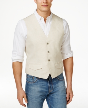 Men's Vintage Inspired Vests Tasso Elba Mens Linen Vest Only at Macys $23.99 AT vintagedancer.com