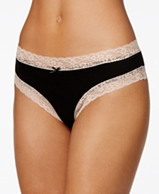 Jenni Cotton Cheeky Lace-Trim Hipster, Created for Macy's