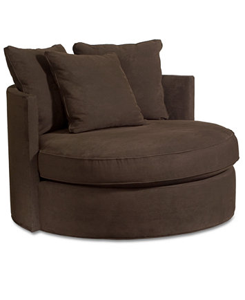 Doss Godiva Fabric Microfiber Round Swivel Living Room Chair ...