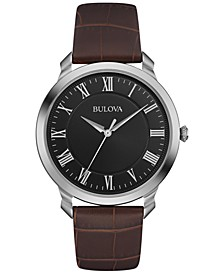 Men's Brown Leather Strap Watch 41mm 96A184