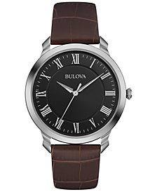 Bulova Men's Brown Leather Strap Watch 41mm 96A184