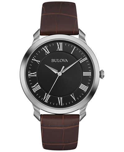 Bulova Men's Brown Leather Strap Watch 41mm 96A184