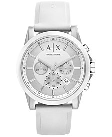 A|X Armani Exchange Unisex Chronograph White Silicone Strap Watch 44mm AX1325