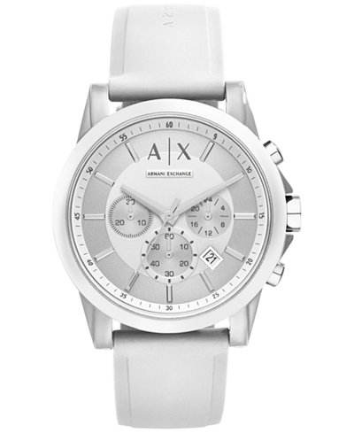 A|X Armani Exchange Unisex Chronograph White Silicone Strap Watch 44mm AX1325