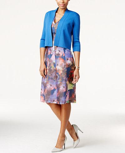 Anne Klein Cropped Cardigan & Textured Floral-Print Dress