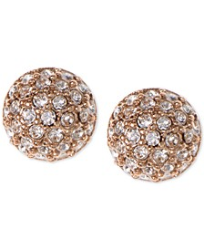 Earrings, Rose Gold-Tone Crystal Button Earrings