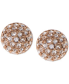 Givenchy Earrings, Rose Gold-Tone Crystal Button Earrings