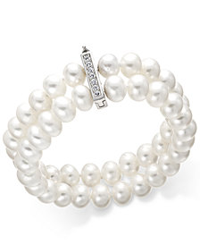 Cultured Freshwater Pearl (8-1/2 mm) and Cubic Zirconia Two-Row Bracelet in Sterling Silver