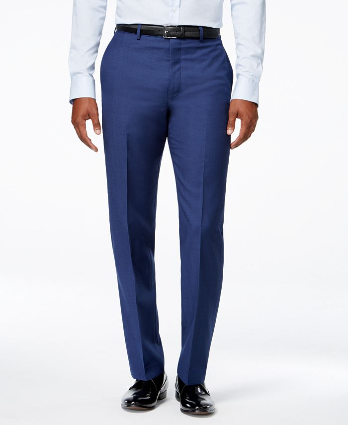 Calvin Klein - Men's Blue Solid Slim Fit Pants