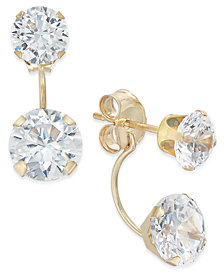 Cubic Zirconia Peekaboo Front and Back Earrings in 10k Gold