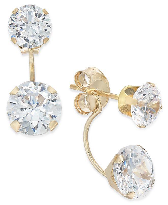 Macy's Cubic Zirconia Peekaboo Front and Back Earrings in 10k Gold