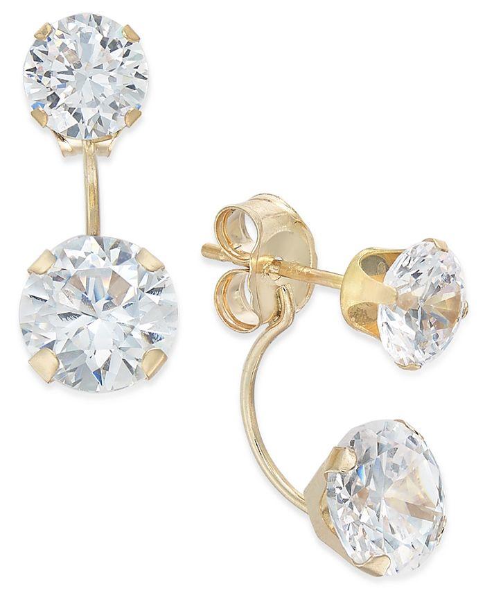 Macy's - Cubic Zirconia Peekaboo Front and Back Earrings in 10k Gold