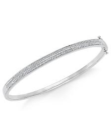 Diamond Pavé Bangle Bracelet (1/4 ct. tw.) in 14k Gold Over Sterling Silver, 14K Rose Gold Over Sterling Silver or Sterling Silver