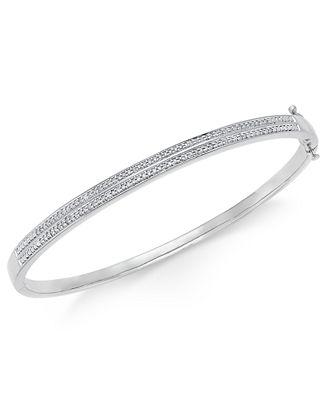 Diamond Pavé Bangle Bracelet 1 4 ct tw in 14k Gold Over
