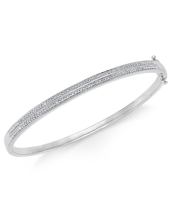 Macy's Diamond Pavé Bangle Bracelet (1/4 ct. tw.) in 14k Gold Over Sterling Silver, 14K Rose Gold Over Sterling Silver or Sterling Silver