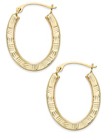 Textured Oval Hoop Earrings in 10k Gold
