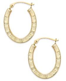Textured Oval Hoop Earrings in 10k Gold