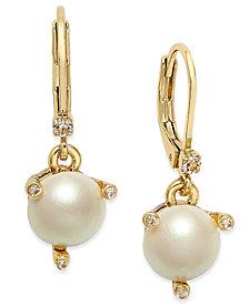 kate spade new york Gold-Tone Imitation Pearl Drop Earrings