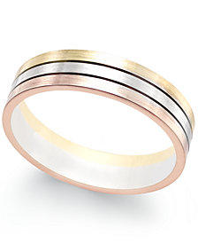 Tri-Color Band in 18k White, Yellow and Rose Gold