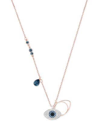 Swarovski Rose GoldTone Crystal EvilEye Pendant Necklace Fashion