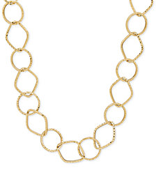 Large Open-Link Textured Chain Necklace in 14k Gold