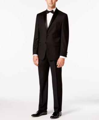 Pleated Black Classic-Fit Tuxedo Pants