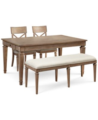 Winston 4 Piece Dining Set (Dining Table, 2 Side Chairs U0026 Bench)
