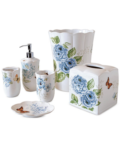Lenox blue floral garden bath collection bathroom for Floral bath accessories