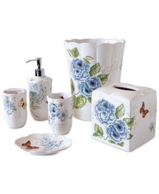 Elegant Lenox Blue Floral Garden Bath Collection